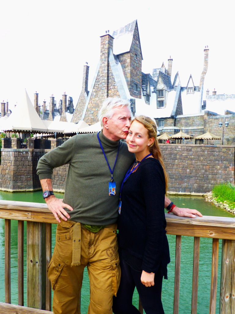 Sharing a moment with the light of my life in front of Hogsmead